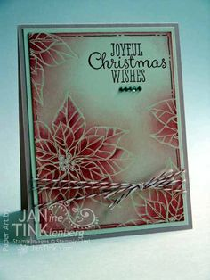 Joyful Christmas Wishes Poinsettia Greeting Card by JanTink, $5.95