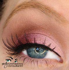 MAC eyeshadows used: Seedy Pearl (inner half of lid) Plum Dressing (outer half of lid) Antiqued (crease) Blanc Type (blend)