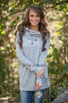 Cute As A Button Sweater Grey - The Pink Lily Boutique