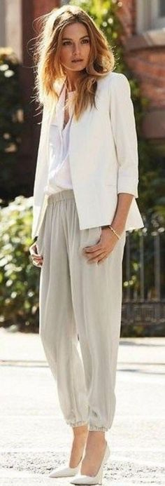 White Blazer, Button Down and Heels and Gray Harem Pants |Relaxed Spring Street Style |Allwomenstalk