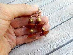 Brown wooden cone bead earrings / womans by JHFWBeadsAndFindings