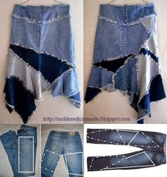 Transforma viejos jeans en prendas recicladas Distintos accesorios con jeans reciclados TRANSFORMA JEANS VIEJOS EN CHALECO. Cort...