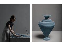 'between two rivers' felt vessels by Siba Sahabi