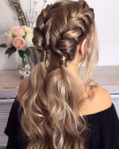 Pull through braid , braid hairstyle ,bridal updo ,updo hairstyles #hair #hairstyle #braids #weddinghair #updo