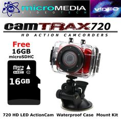 Action Camcorder 720HD w/ 16GB SDHC LED Waterproof Case Sports Mount Kit Bundle #CamTRAX