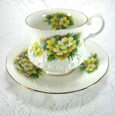 Cup And Saucer Yellow Primroses English Bone China 1970s