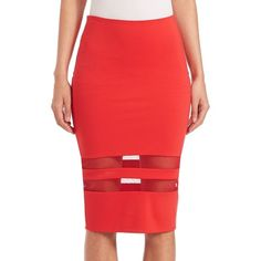 T by Alexander Wang Mesh Stripe Ponte Pencil Skirt (€135) ❤ liked on Polyvore featuring skirts, apparel & accessories, striped skirt, mesh skirt, ponte skirt, long red skirt and ponte knit pencil skirt