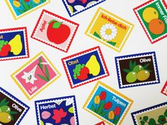 Full sheet Stamp Sticker - Fruit, Flower, Plant : 웬아이워즈영 | wheniwasyoung - 디자인문구 브랜드 홈페이지 Brand Packaging, Packaging Design, Graphic Design Posters, Illustrations And Posters, Cute Stickers, Book Art, Illustration Art, Stationery, Creative