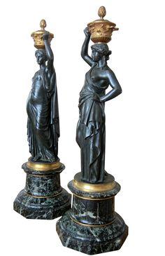 Pair of Napoleon III Bronze Classical Figures after Louis Valentin Elias Robert (French, 1821-1871)