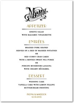 69 Best Wedding Menus Images Wedding Food Menu Wedding Menu