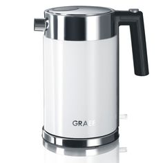Add sleek, stylish & practical design to your kitchen with this white kettle from Graef, withatwo year guarantee. It features a double walled inner body made of stainless steel and an acrylic out...