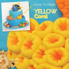 FInding Dory Cake: How to make Yellow Coral - Mould a small amount of fondant into the shape of a rock. Roll small balls of yellow fondant. Press the serrated cone tool into each ball. Attach each piece of coral onto the rock shape. Dust each center with orange Powder Dye. Leave to dry. Full recipe on Roberts Confectionery website: http://www.robertsconfectionery.com.au/pages/recipe-sheets