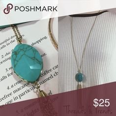 Dainty Turquoise Pendant Necklace Beautiful turquoise Pendant on a gold chain. Featuring a gold chain Tassel. Beautiful and classic that goes with any look. Chain drop 15 Chain drop + pendant 20 Jewelry Necklaces