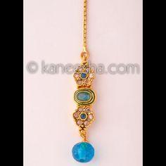 Goldplated Turquoise beaded headpiece tikka