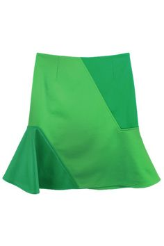 #ROMWE Fishtail Hem Color Block Green Skirt