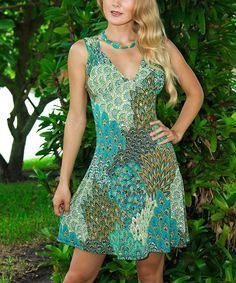 Look at this Green Peacock Cutout A-Line Dress on #zulily today!