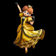 """""""Peach has a cool gold outfit in Ultimate so I whipped one up for Daisy too. Mario Princess Daisy, Princess Daisy Costume, Nintendo Princess, Super Mario Run, New Super Mario Bros, Super Smash Bros, Legend Of Zelda Midna, Marvel Cartoon Movies, Princess Toadstool"""