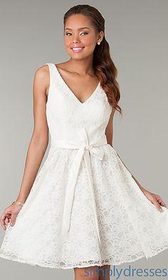 Knee Length Sleeveless V-Neck Dress at SimplyDresses.com