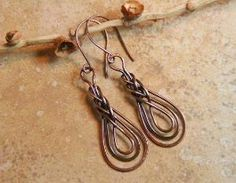 #wirework wire wrap Copper Knotted Dangle Earrings by AllowingArtDesigns on Etsy, by Wigsbuy-reviews