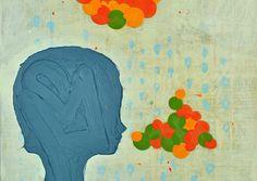 John Randall Nelson, Mixed Media painting, Title: Happy Sad. Bubbles, Polka Dots, girl
