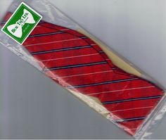 Bow Beau Ties Ltd. of Vermont Dupioni Silk RED Blue Diagonal Strip Gift NIP #BeauTiesLtdofVermont #BowTie