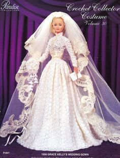 1956 Grace Kelly's Wedding Gown for Barbie Doll Paradise #30 Crochet PATTERN NEW #ParadisePublications