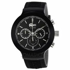 Lacoste Borneo Chronograph Black Dial Black Silicone Mens Watch 2010651 Lacoste. $133.95. Brand Name: Lacoste Model Number: 2010651 Band Material Type: Rubber Dial Color: black dial Watch Movement Type: Quartz Crystal: Saphire. Save 31% Off!