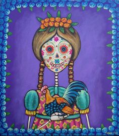 Mexican Painting German Rubio Folk art day of the dead Sugar skull girl
