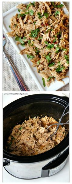 Slow Cooker Chipotle Shredded Pork from 365 Days of Slow Cooking; use it on a salad or make tacos or burritos with low-carb tortillas for a delicious low-carb meal!  [Featured on SlowCookerFromScratch.com]