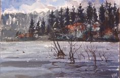 """Original Watercolor Painting One of a kind """"Big Bear Lake"""" 9"""" X 6"""" NOT A PRINT #Realism"""
