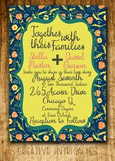 Floral Wedding Invitation | Printable | Custom Made | Save The Dates | Invites | PSD | PDF | Garden Theme | Invites | Blue | Yellow | by Creativeintricacies on Etsy
