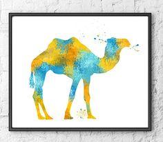 Camel Watercolor, Camel Art, Animal Wall Art, Silhouette, Animal Poster, Kids wall decor, Home Decor  - 135
