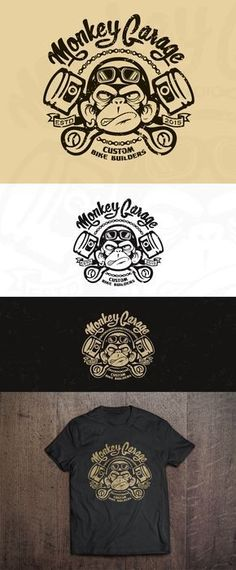 Design #155 by Hazel Anne | create a cool & nice, old school, crazy ape logo for our Monkey Garage http://jrstudioweb.com/diseno-grafico/diseno-de-logotipos/