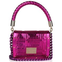 Versace Fuchsia and Gold Metallic Leather Shoulder Bags UpscaleHype ❤ liked on Polyvore featuring bags