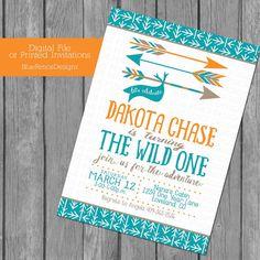 Birthday Invitation, Arrows, Wild One, First Birthday, a new adventure, arrows, forest, woodland, template, 1st, baby shower, orange, turq