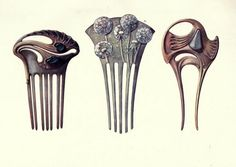 "French art nouveau hair combs in enamel, shell, gold, and precious stones designed by Paul Follot and Henri Vever.. Color plate from Charles Holme's ""Modern Design in Jewellery and Fans,"" published by the Studio 1902. Combs 1 and 3 are by Follot. Comb 2 is by Vever."