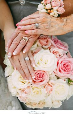 Three generation hand photo with Mom, Grandma and the Bride with her bouquet - wish I had one from my own wedding :)