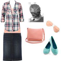 Feminine & Modest style for Spring.  'Spring in My Step'.  Denim, check & pastels