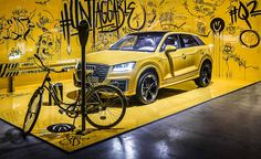 Audi market launch on Behance Graffiti photo booth Exhibition Booth, Museum Exhibition, Stand Design, Booth Design, Pajero Sport, Floor Graphics, Audi Cars, Paris Shows, Retail Design
