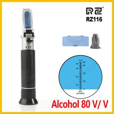 RZ Refractometer Alcohol Alcoholometer meter 0~80%V/V ATC Handheld Tool Hydrometer RZ116 concentration spirits tester wine  Price: 14.37 USD