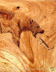 Pyrography by Kathleen Marie Wilson -like how she used the grain of the wood to her advantage