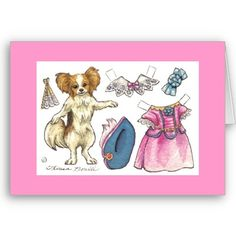 Papillon paper doll note card
