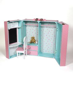Another great find on #zulily! Pink Bedroom Trunk Set for 18'' Doll #zulilyfinds