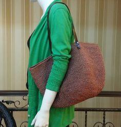 crocheted summer raffia brown tote beach bagcrochet by BusyPaws