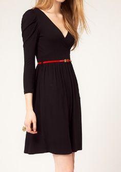 Black Cotton Blends V Neck Puff Sleeve Belt Wrap Dress