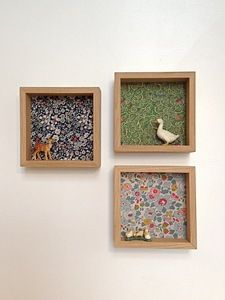 Box frame, fabric, mini animal, cute for a kids room