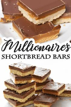 Millionaire's Shortbread is a rich, decadent treat made up of three layers: a shortbread crust, chewy golden caramel, and thick chocolate ganache. Shortbread Cookie Crust, Caramel Shortbread, Shortbread Recipes, Cookie Recipes, Dessert Recipes, Layer Cake Recipes, Bar Recipes, Candy Recipes, Dessert Simple