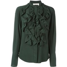 Chloé Ruffled Blouse (47,915 PHP) ❤ liked on Polyvore featuring tops, blouses, green, green silk top, flutter-sleeve top, long sleeve tops, green blouse and ruffle top