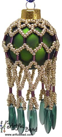 Mini Beaded Ornament - Mandi Ainsworth www.artfulbead.com $30.00 #jewelrymaking #class