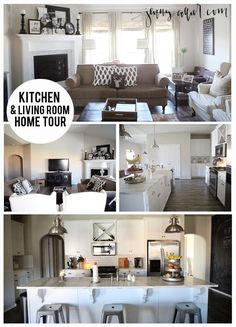 Tour of our kitchen & living room space featuring a white kitchen with farmhouse sink & marble countertops.  A chalkboard wall and a neutral color palette.